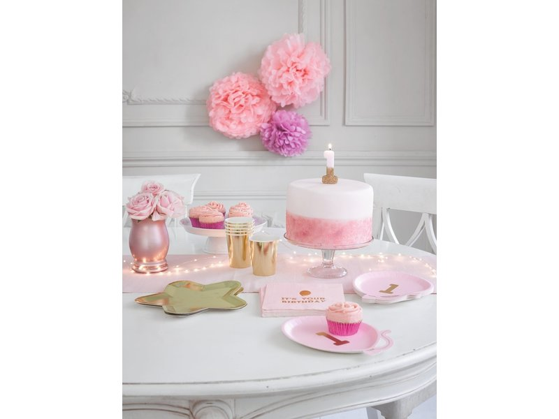 Talking Tables We Heart Birthdays Glitter Candle Pink