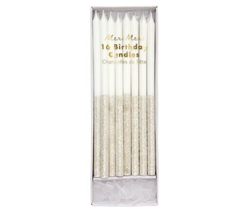 Silver Glitter Dipped Birthday Candles