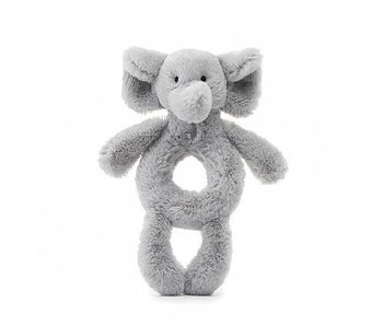 Bashful Grey Elephant Ring Rattle