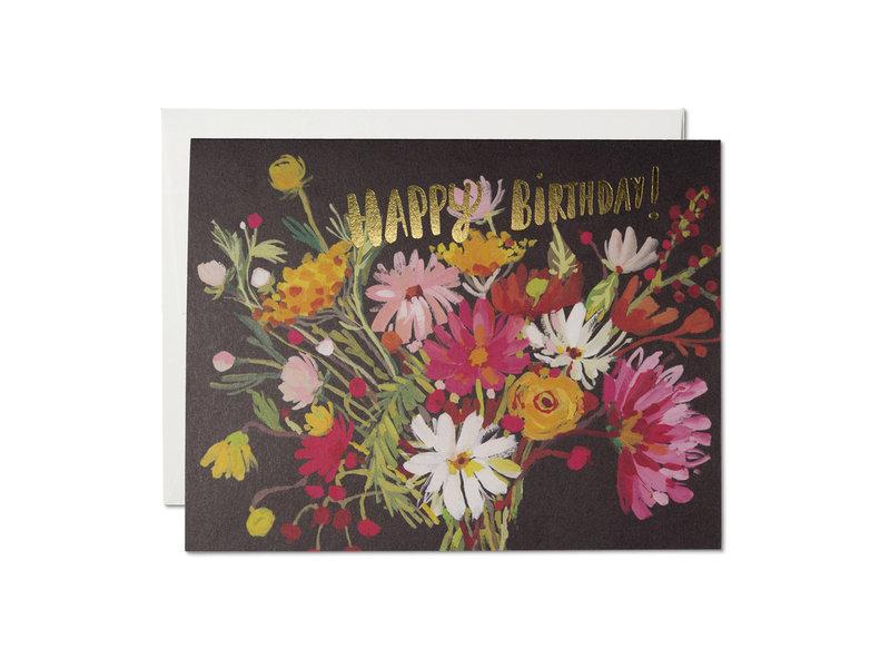 Red Cap Cards Vintage Happy Birthday Bouquet