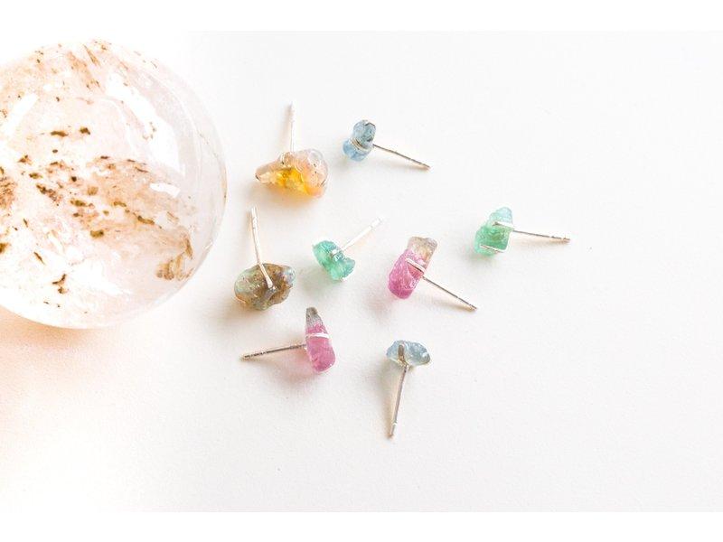 Jurate Brown Pyrite Raw Stone Earrings