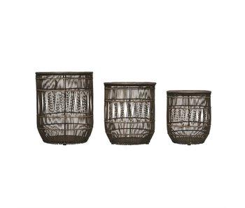 Hand-Woven Bamboo & Rattan Black Baskets