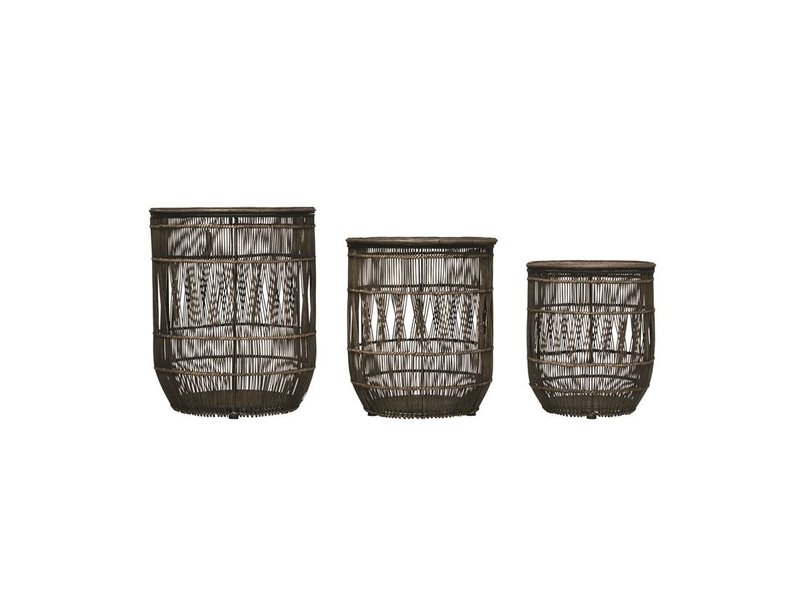 Bloomingville Hand-Woven Bamboo & Rattan Black Baskets