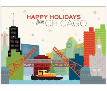 Chicago River Holiday Tug Boat Boxed Notecards