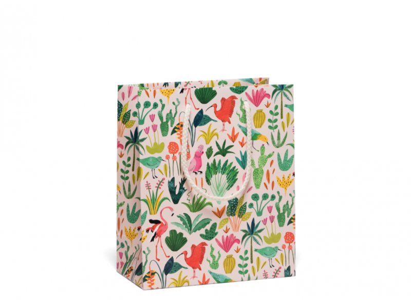 Red Cap Cards Colorful Birds Gift Bag