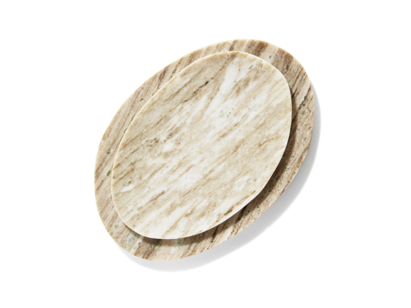 Two's Company Organic Beige Marble Plate