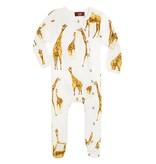 Milk Barn Orange Giraffe Bamboo Footed Romper