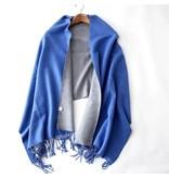 Tourance Linens Cobalt and Grey Silk Blend Scarf