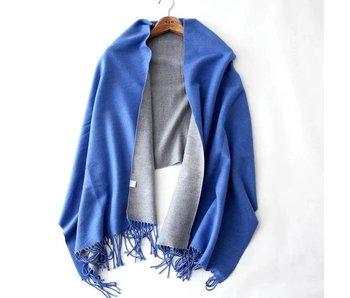 Cobalt and Grey Silk Blend Scarf