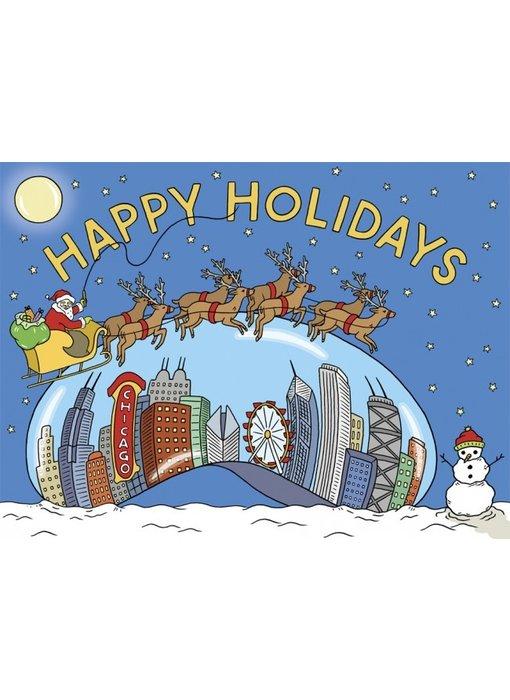Happy Holiday Chicago Bean Skyline Card