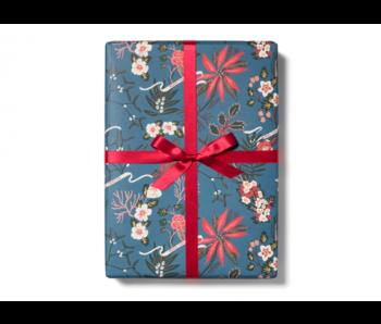 Blue Poinsettia Gift Wrap