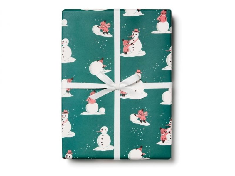 Red Cap Cards Building Snowmen Gift Wrap