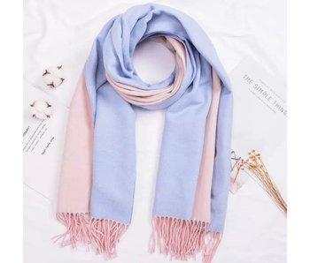 Light Blue and Light Pink Silk Blend Scarf