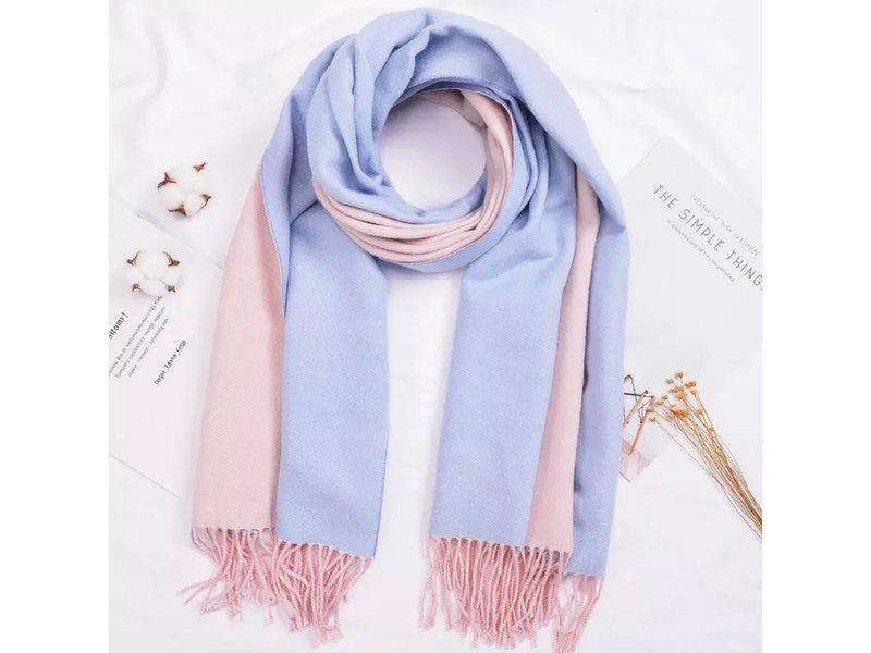 Tourance Linens Light Blue and Light Pink Silk Blend Scarf