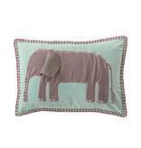 Bloomingville Blue Velvet Embroidered Elephant Pillow