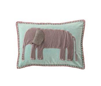 Blue Velvet Embroidered Elephant Pillow