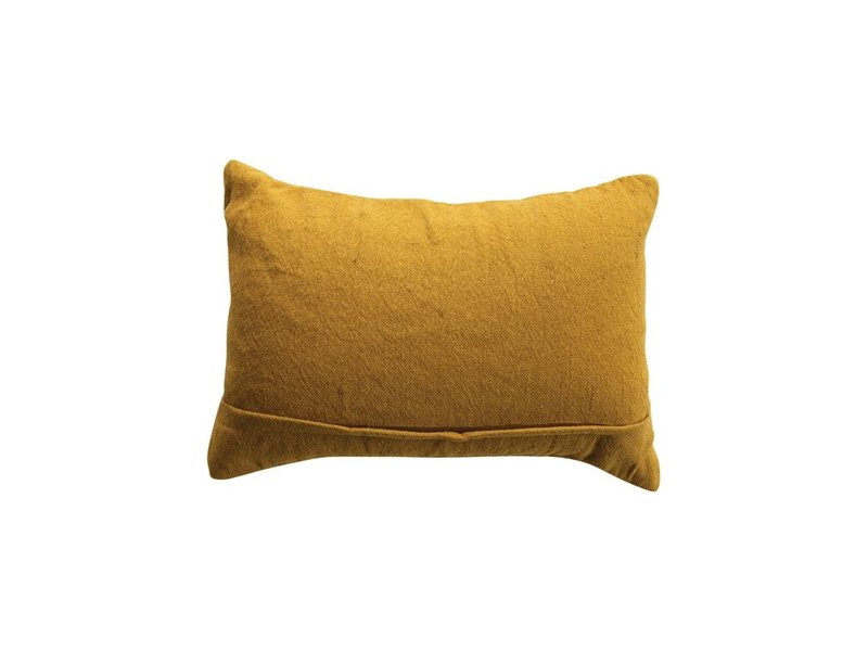 Bloomingville Cotton Embroidered Gold Lumber Pillow