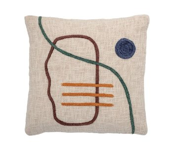 Cream Embroidered Pillow With  Abstract Pattern