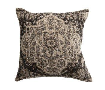 Grey Cotton Blend Chenille Jacquard Pillow