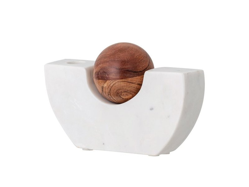 Bloomingville Marble Taper Holder with Wood Ball