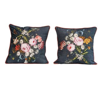 Cotton Floral Pillow w/ Embroidery