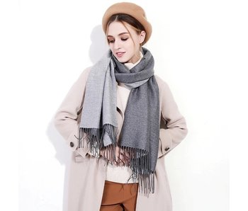Silk Blend Scarf - Light Grey and Charcoal Grey