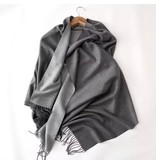 Tourance Linens Light Grey and Charcoal Grey Silk Blend Scarf
