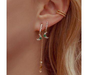 Emerald Moon & Star Dangle Earrings Silver