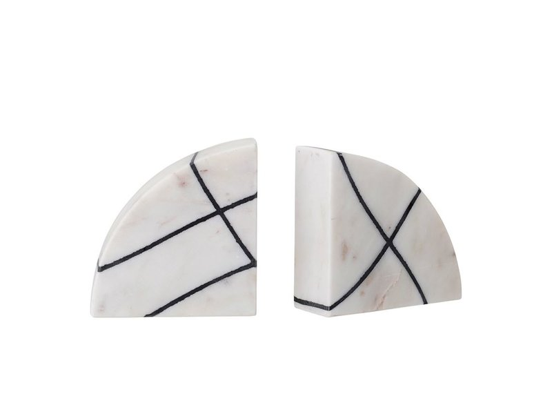Bloomingville Black & White Marble Bookends