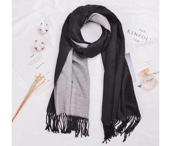 Black and Grey Silk Blend Scarf