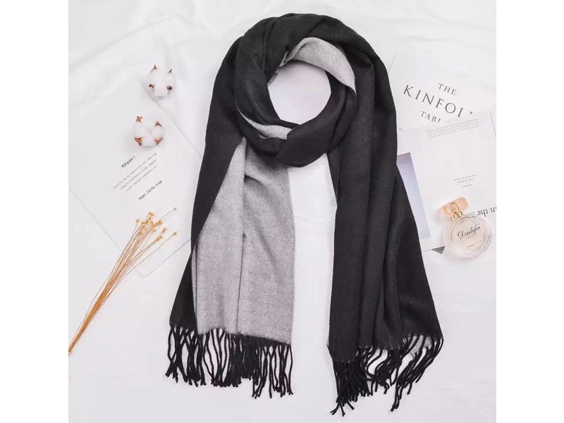Tourance Linens Black and Grey Silk Blend Scarf