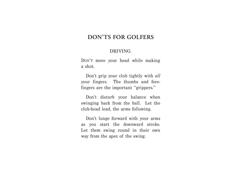 Macmillan Publishing Dont's For Golfers