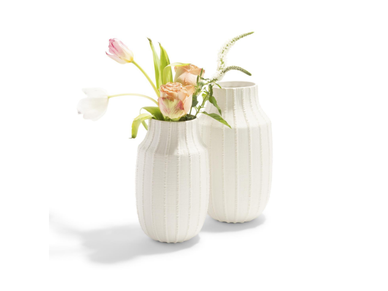 Two's Company Ribbed Linen Vase