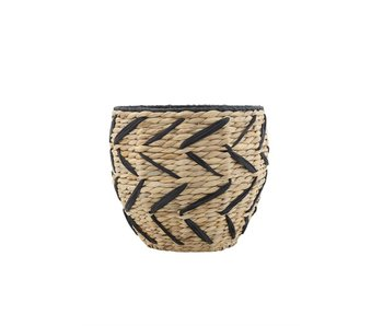 Seagrass Basket With Black Pattern