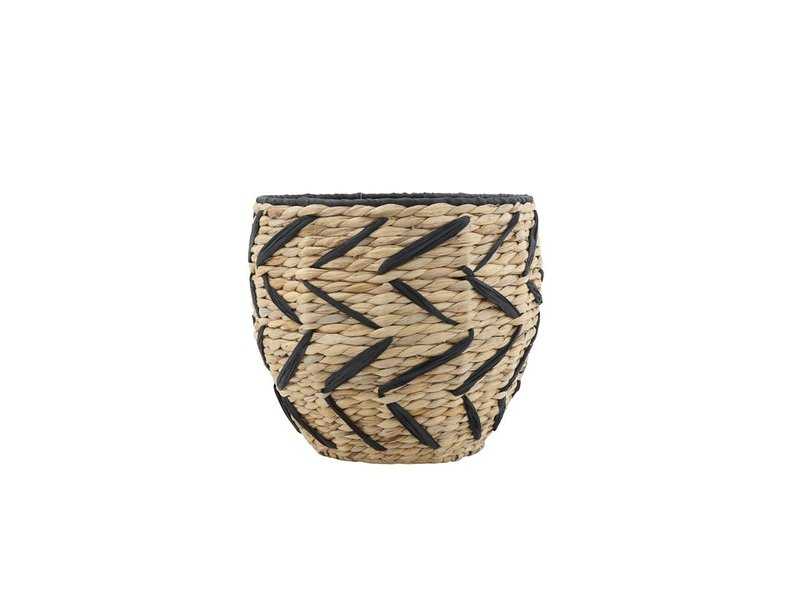 Bloomingville Seagrass Basket With Black Pattern