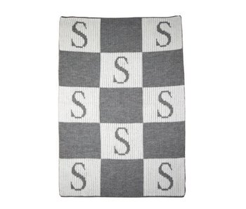 Personalized Initial & Blocks Stroller Blanket