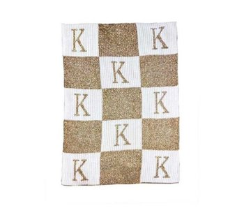 Personalized Metallic Initial & Blocks Stroller Blanket