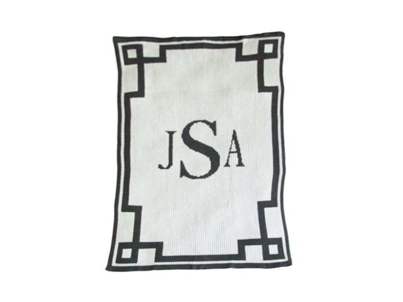 Butterscotch Blankees Personalized Monogram & Scroll Throw Blanket