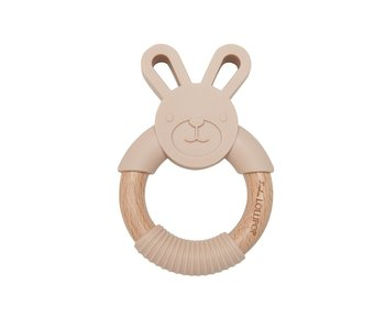 Bunny Silicone & Wood Teething Ring
