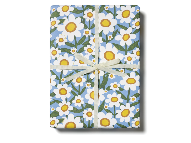 Red Cap Cards Seventies Daisy Gift Wrap