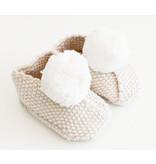 Alimrose Pom Pom Baby Cream Slippers