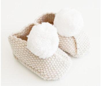 Pom Pom Baby Cream Slippers