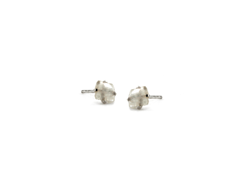 Jurate Brown Moonstone YG Raw Stone Earrings