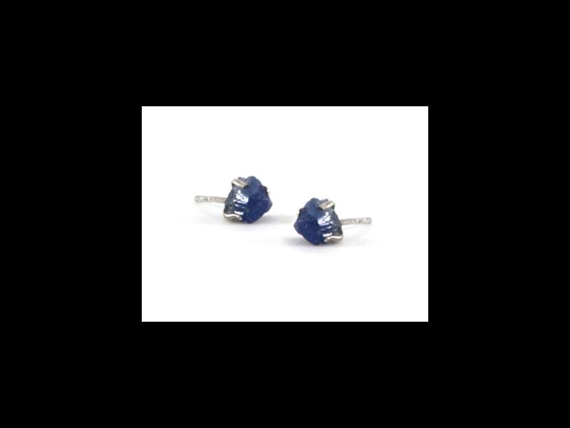Jurate Brown Sapphire Raw Stone Earrings
