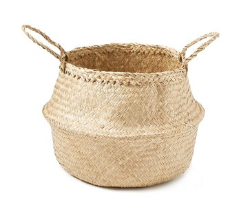 Hand Woven Palm and Seagrass Belly Basket