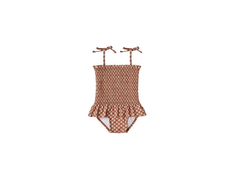 Rylee + Cru Flower Power Smocked One-piece Swimsuit