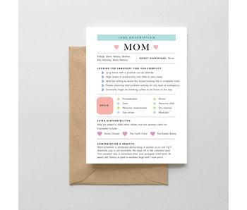 Mom: Job Description Card