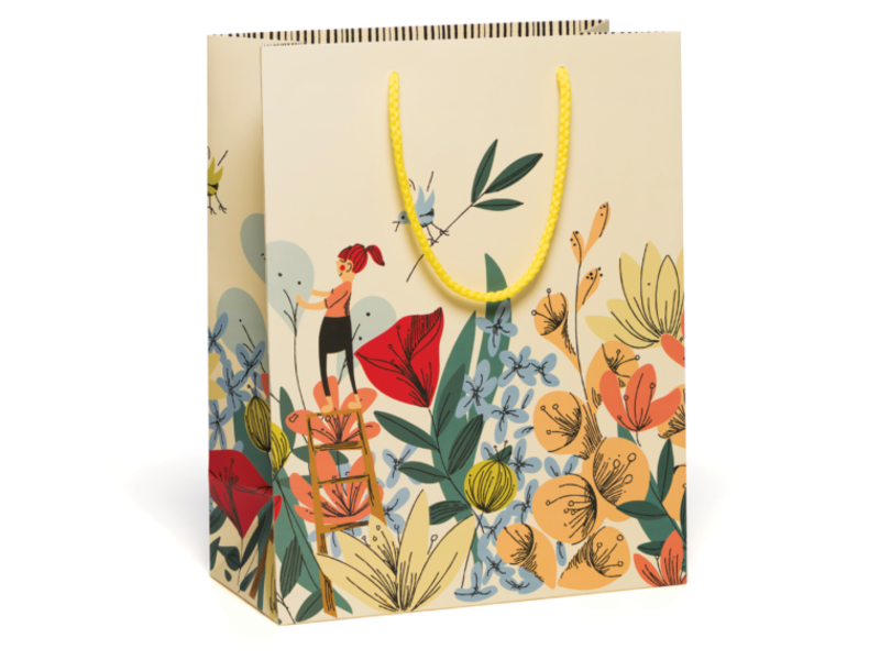 Red Cap Cards In The Flowers Gift Bag