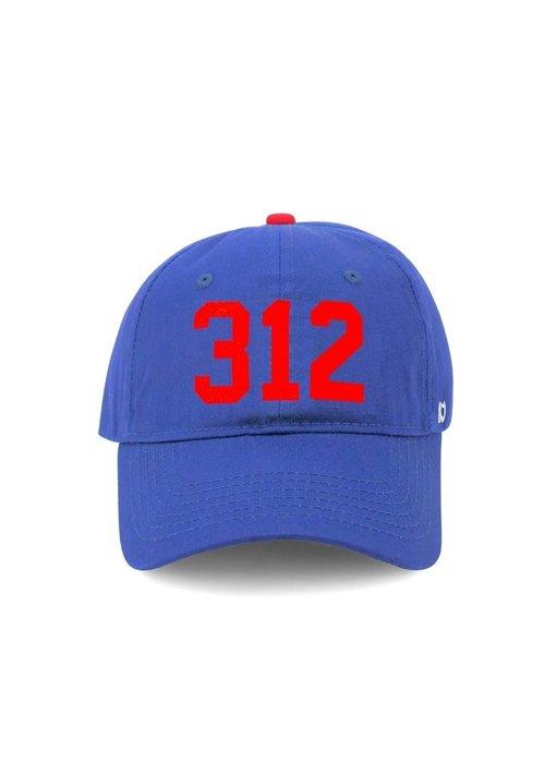 312 Chicago Baseball Cap Cobalt Blue & Red (Chicago Cubs)