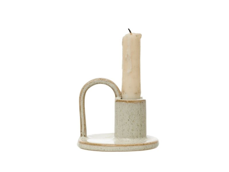 Bloomingville Stoneware Taper Holder with Handle, Cream